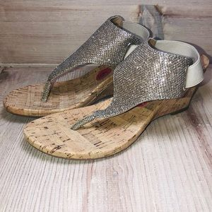 WHITE MOUNTAIN shimmery cork wedges size 6